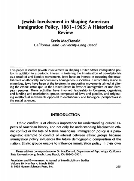 jewish involvement in shaping united states immigration policy