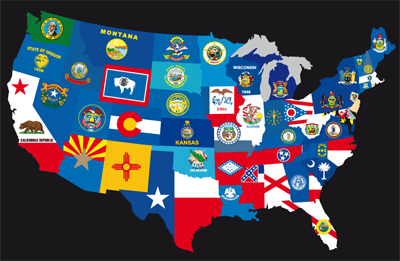US State Flags Flags Of States Usa State Flags On D Map Stock - Us state flag map