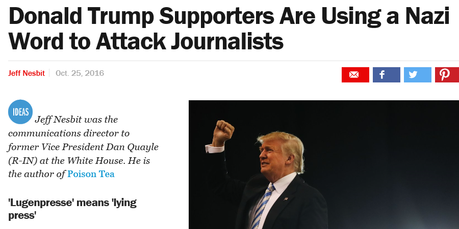 Image result for Donald Trump Supporters Are Using a Nazi Word - Lügenpresse - to Attack Journalists