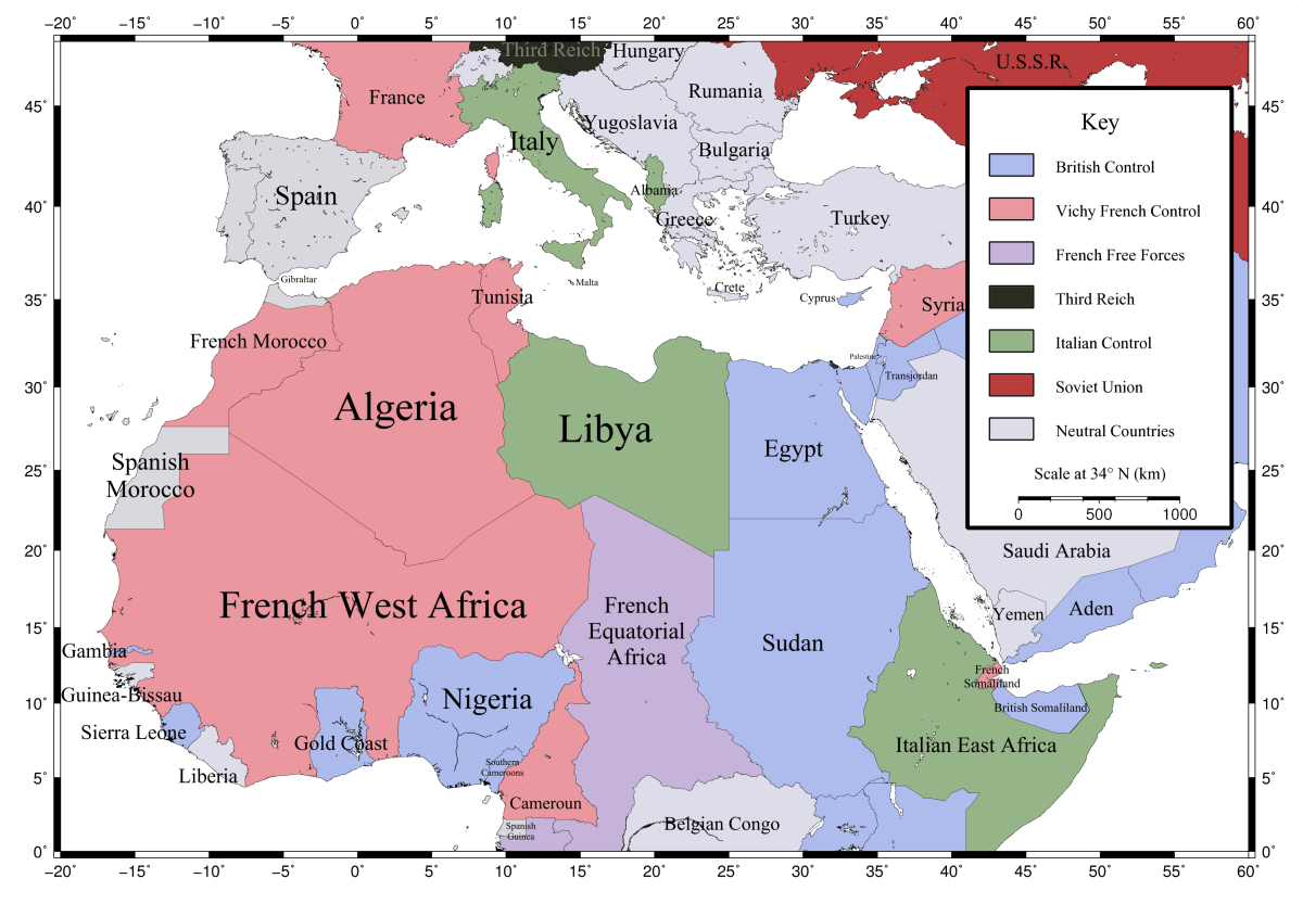 french north africa map