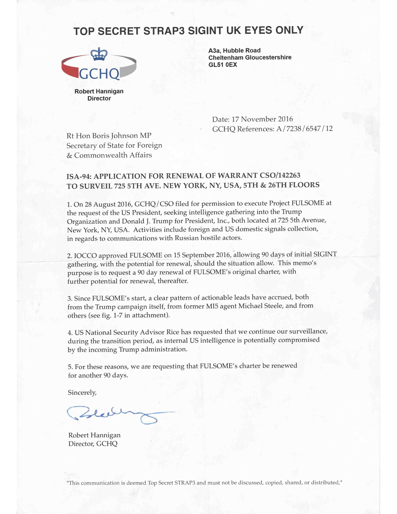 The Letter Discusses Project FULSOME, A Name Given To The Obama Operation  Of Using British Intelligence At GCHQ To Spy On Donald Trump.