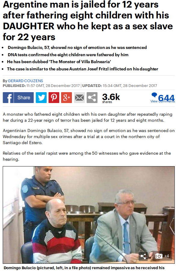 Image result for An Argentine man, Domingo Bulacio, 57, who repeatedly raped his daughter, fathering eight childre
